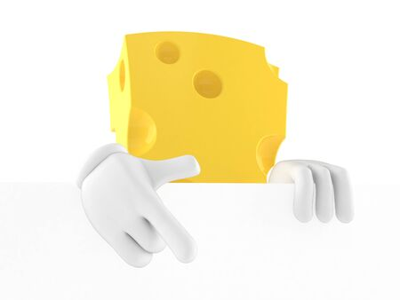 Cheese character behind white board isolated on white background