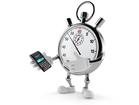 Chronometerkarakter die calculator gebruiken die op witte achtergrond wordt geïsoleerd