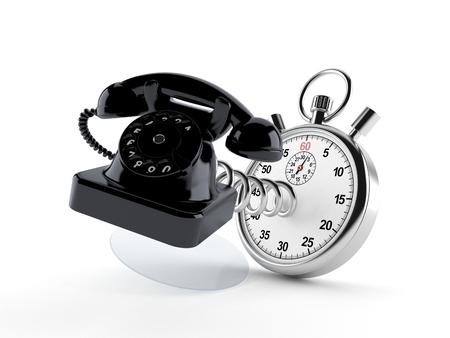 hotline: Telephone with stopwatch isolated on white background Stock Photo