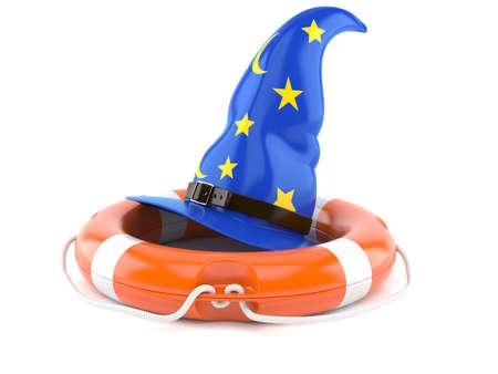 Magic hat with life buoy isolated on white background Stock Photo