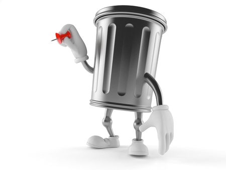 Trash can character holding thumbtack isolated on white background