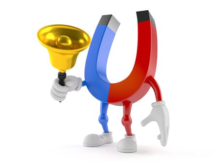 Magnet character ringing a handbell isolated on white background