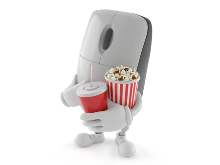 Computer mouse character with soda and popcorn isolated on white background