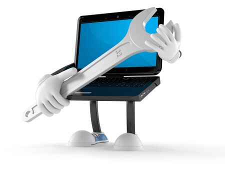 Laptop character with wrench isolated on white background Stock Photo