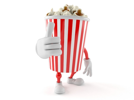 all ok: Popcorn character with thumbs up isolated on white background