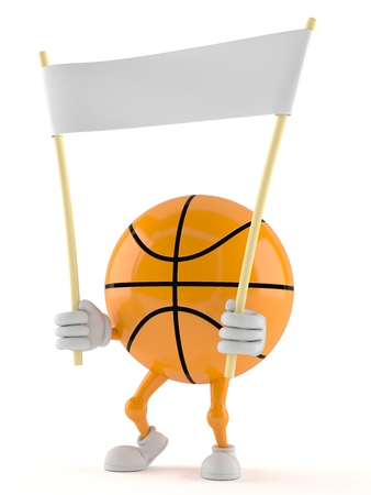 Basketball character holding banner isolated on white background Foto de archivo