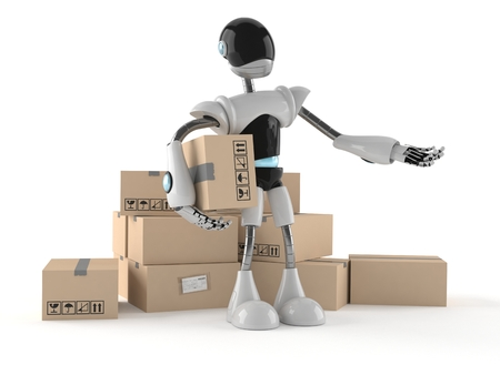 Cyborg met stapel dozen op witte achtergrond worden geïsoleerd die Stockfoto