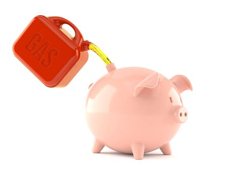 gas can: Piggy bank with fuel isolated on white background Stock Photo