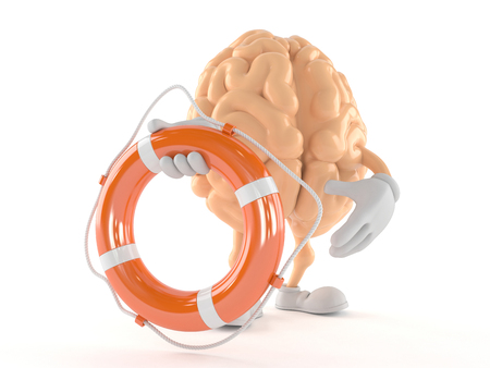 Brain character holding life buoy isolated on white background Stok Fotoğraf