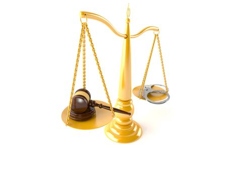 Crime and justice balance isolated on white background