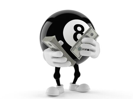Eight ball character with money isolated on white background