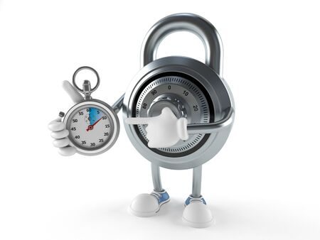 Combination lock character with stopwatch isolated on white background