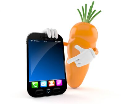 Carrot character with smart phone isolated on white background