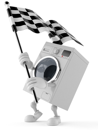Washer character waving race flag isolated on white background