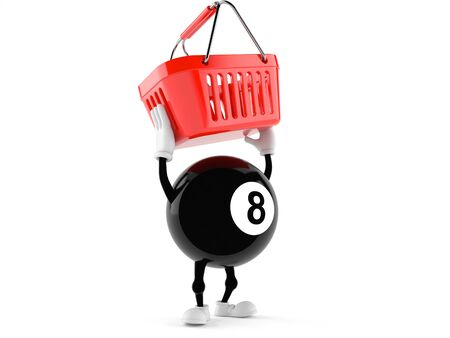 Eight ball character holding shopping basket isolated on white background