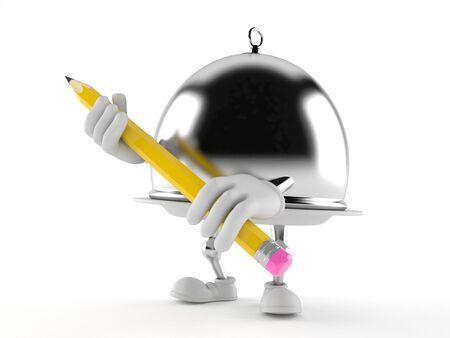 Catering koepel karakter bedrijf potlood geïsoleerd op een witte achtergrond