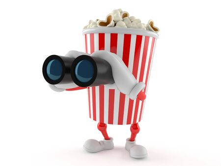 Popcorn character looking through binoculars isolated on white background