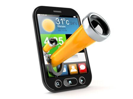 Telescope inside smart phone isolated on white background Stock Photo