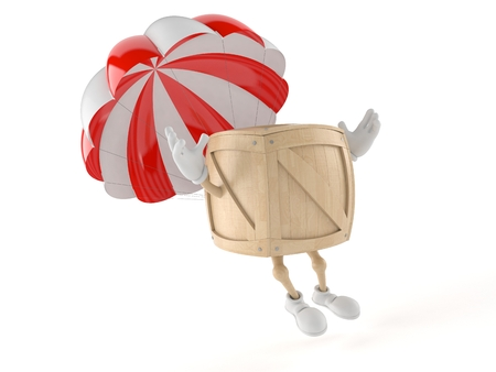 Crate character with parachute isolated on white background