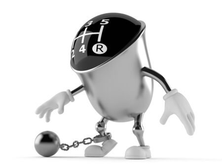 Gear knob character with prison ball isolated on white background