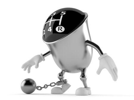 Versnelling knop karakter met gevangenis bal geïsoleerd op een witte achtergrond