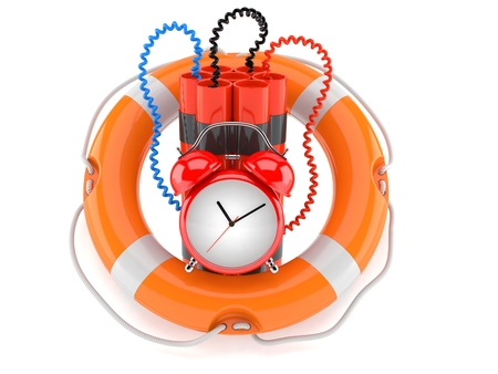 Time bomb with life buoy isolated on white background Stock Photo