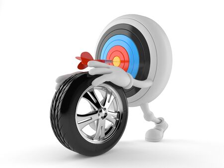 rim: Bulls eye character rolling spare wheel isolated on white background