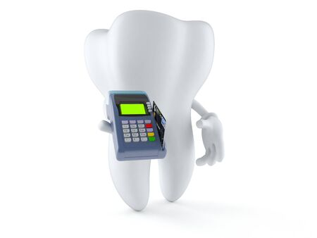 creditcards: Tooth character holding credit card reader isolated on white background