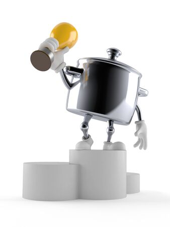 Kitchen pot character holding golden trophy isolated on white background