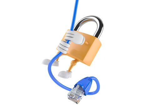 Padlock character with network cable isolated on white background