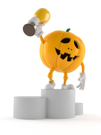 Halloween pumpkin character holding golden trophy isolated on white background