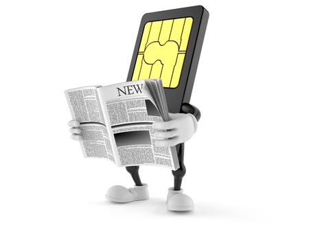 SIM card character reading newspaper on white background Stock Photo