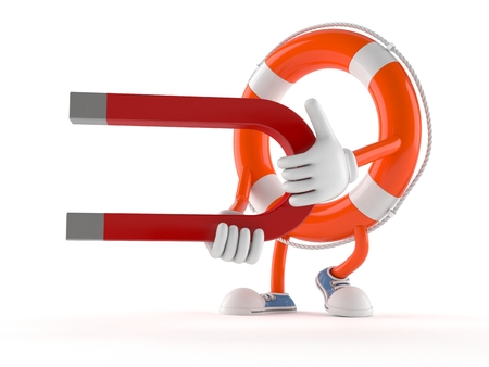 Life buoy character holding horseshoe magnet isolated on white background Stock Photo