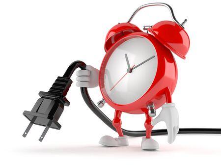 Alarm clock character holding electric plug isolated on white background Stock Photo