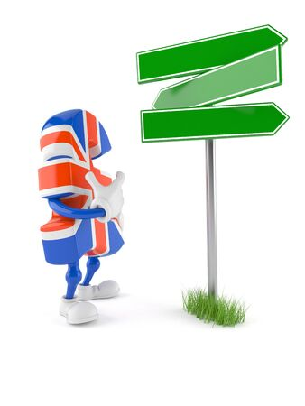 uk money: Pound currency toon with road sign isolated on white background