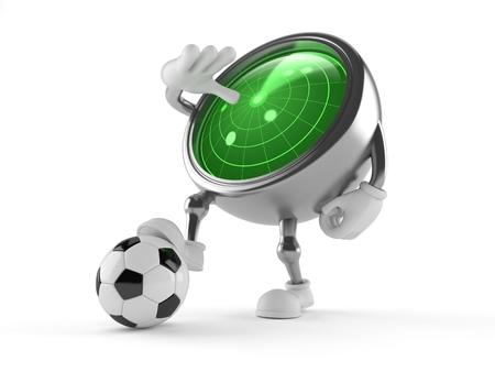 Radarkarakter met voetbalbal op witte achtergrond wordt geïsoleerd die