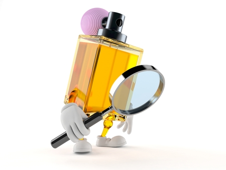 Perfume toon with magnifying glass isolated on white background Stock Photo