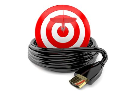 HDMI cable with bulls eye isolated on white background