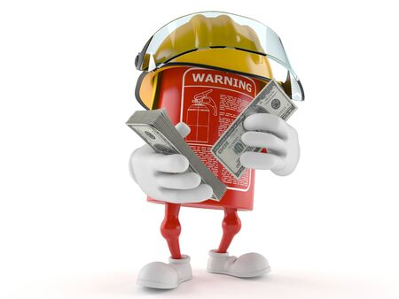 Fire extinguisher character with money isolated on white background