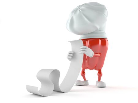 Paprika character reading long list on white background Stock Photo