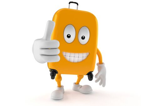 all ok: Suitcase character with thumbs up isolated on white background