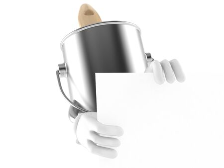 paintcan: Paint can character behind white board isolated on white background