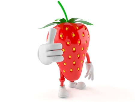 all ok: Strawberry character with thumbs up isolated on white background