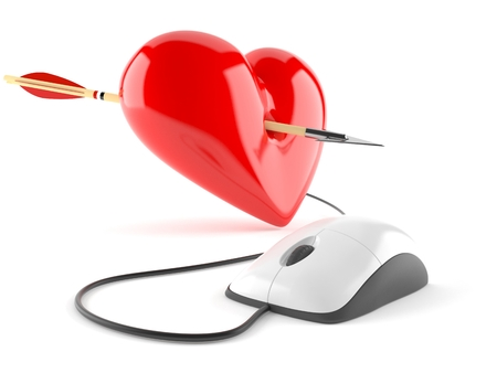 Heart with arrow and computer mouse isolated on white background