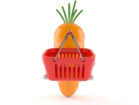 Carrot character holding shopping basket isolated on white background