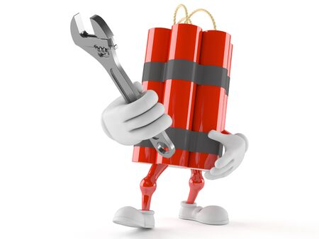 cartoon bomb: Dynamite character holding adjustable wrench isolated on white background Stock Photo
