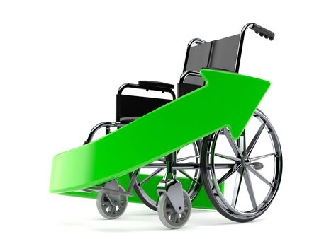 recuperation: Wheel chair with green arrow isolated on white background Stock Photo
