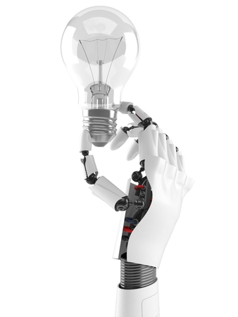 Cyborg hand with Light bulb isolated on white background