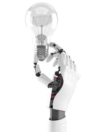 Cyborg Hand mit Glühbirne isoliert auf weißem Hintergrund Standard-Bild - 83704464
