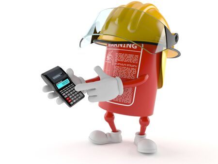 Fire extinguisher character using calculator isolated on white background Stock Photo